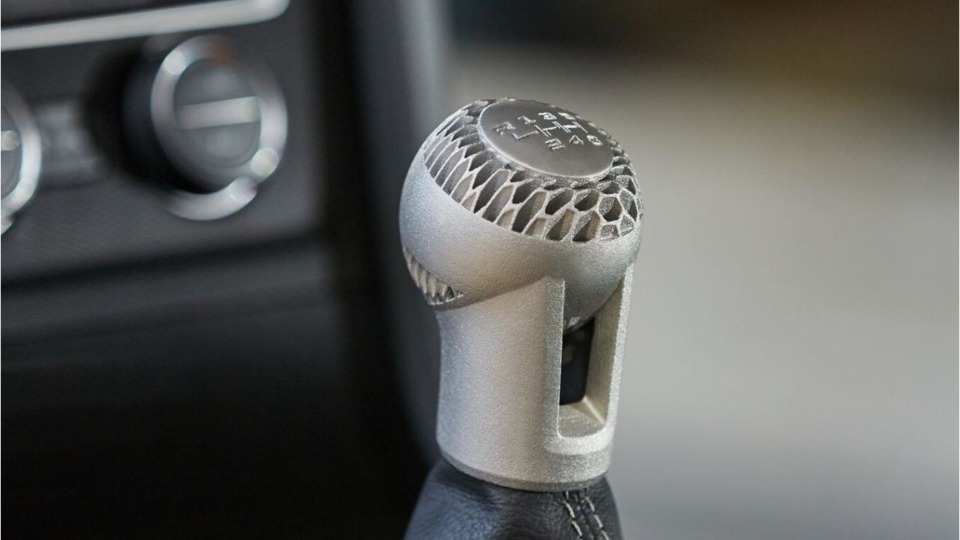An innovative 3D Print Technology by Volkswagen gearshift knob created on the HP Metal Jet - Image Copyrights HP
