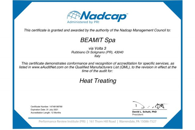 For Italy-based AM firm BEAMIT gets NADCAP accreditation